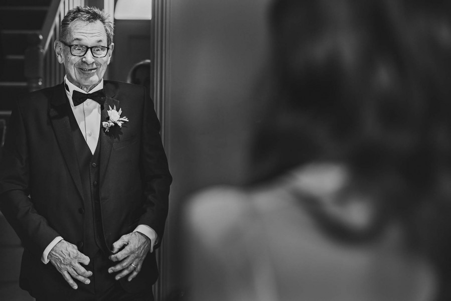 Father bride first look London wedding photography