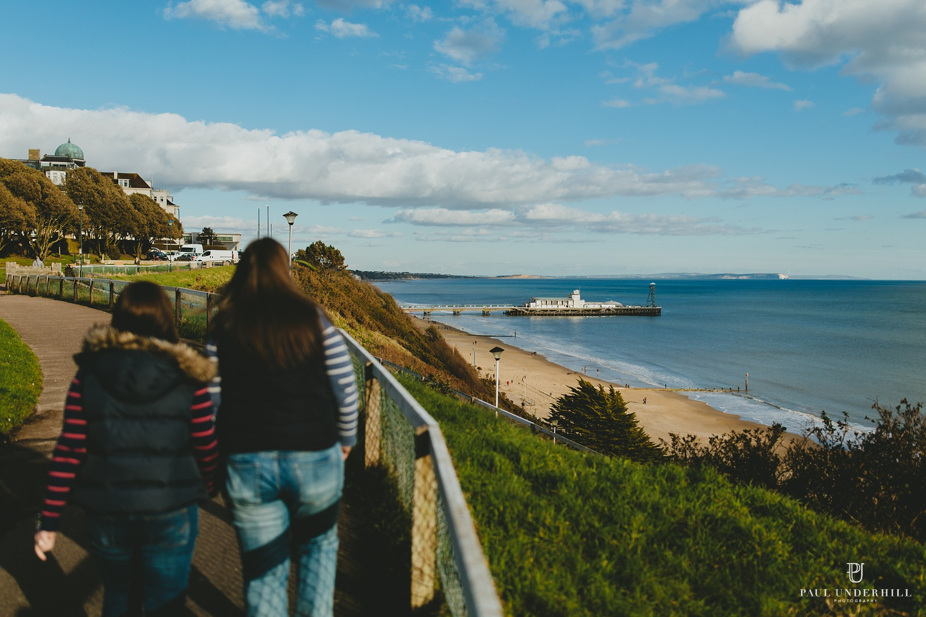 Bournemouth pier clifftop view