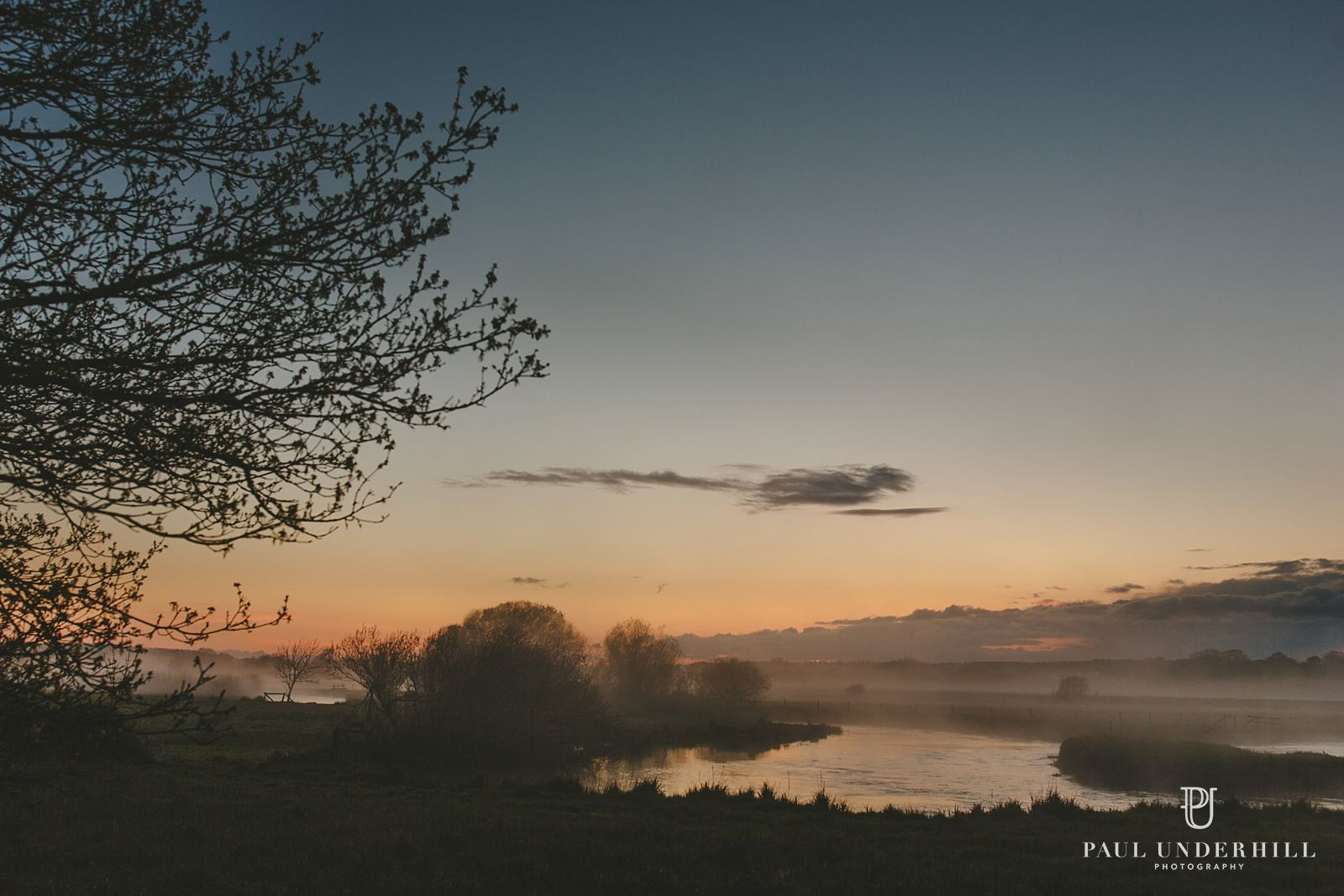 Mist in fields and sunset Dorset photography