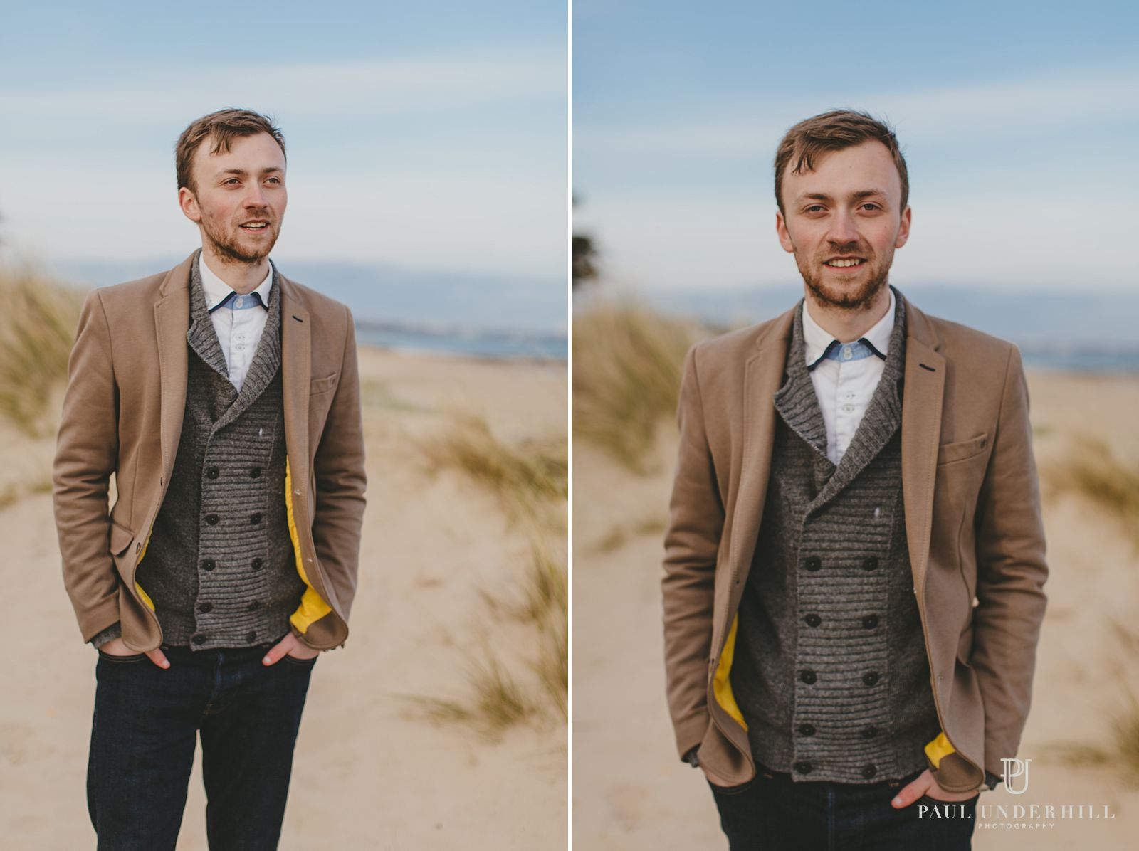 Portraits of groom in Sandbanks Poole