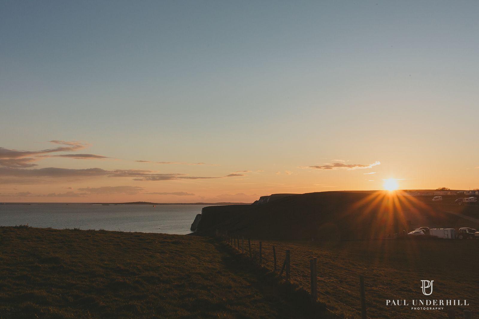 Sunset over fields in Dorset