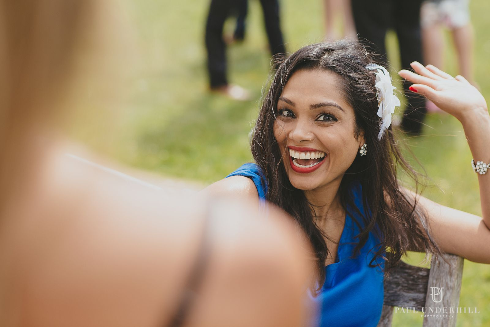 Candid fun wedding portrait