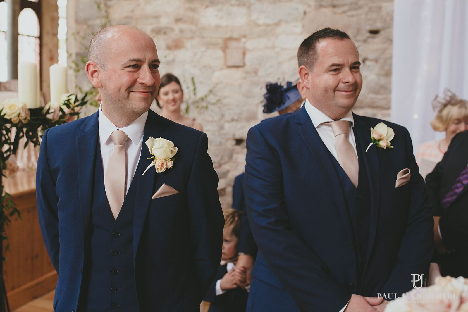 Groom and bestman Lulworth Castle