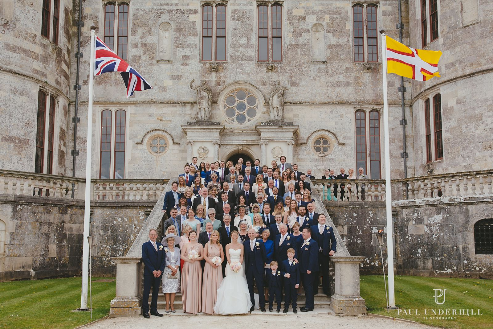 Group photo Lulworth Castle wedding