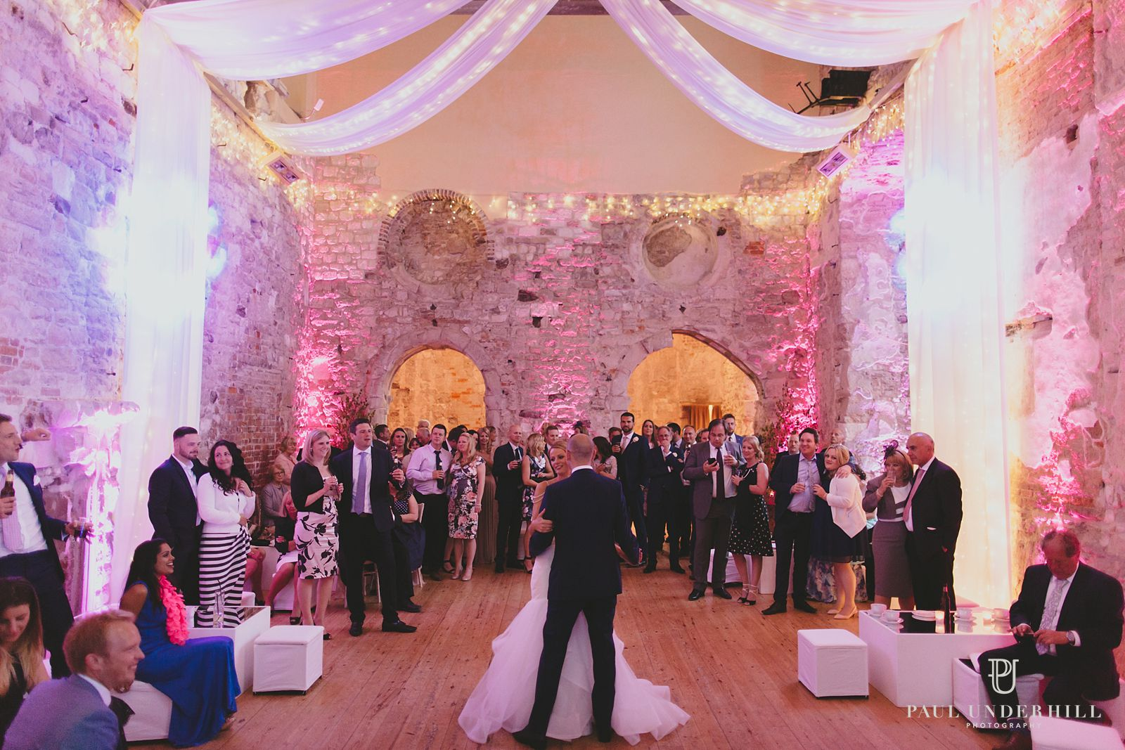 Lulworth Castle wedding at night