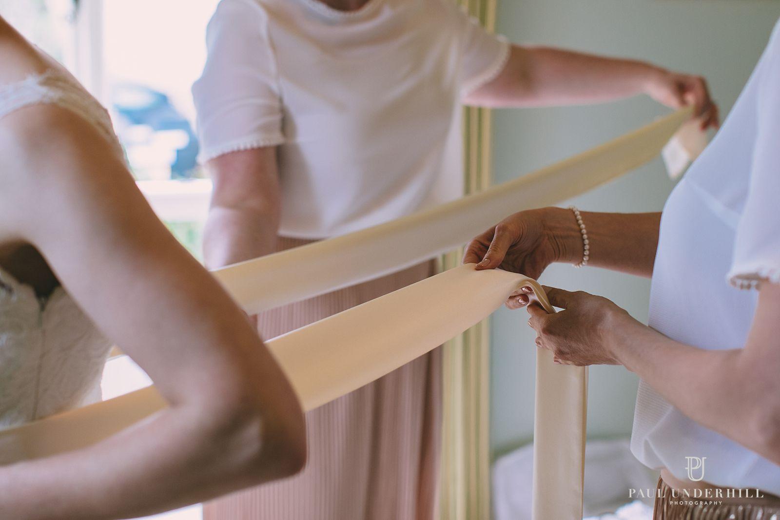 Bride gets ready Dorset wedding