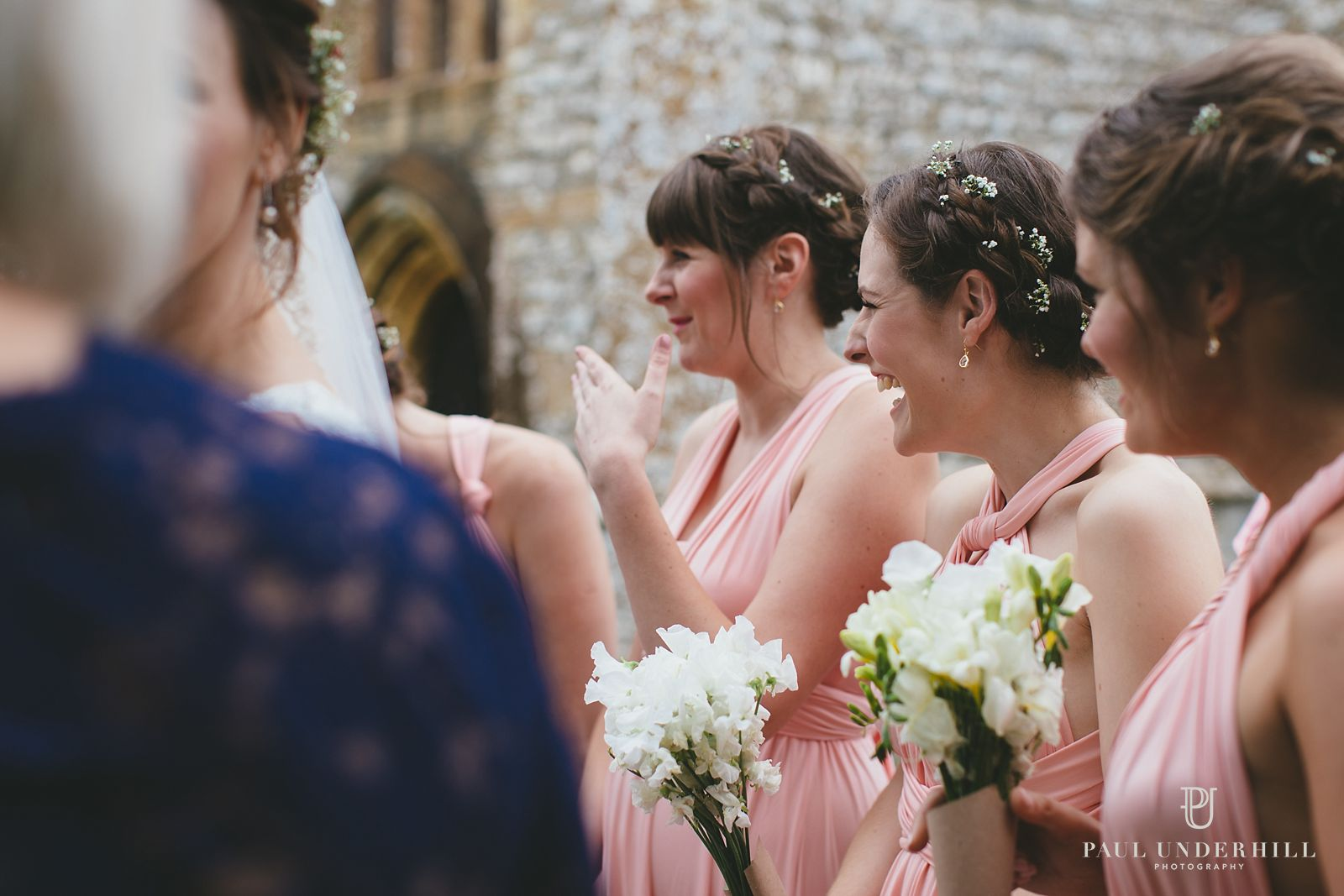 Bridesmiads laughting at Dorset wedding