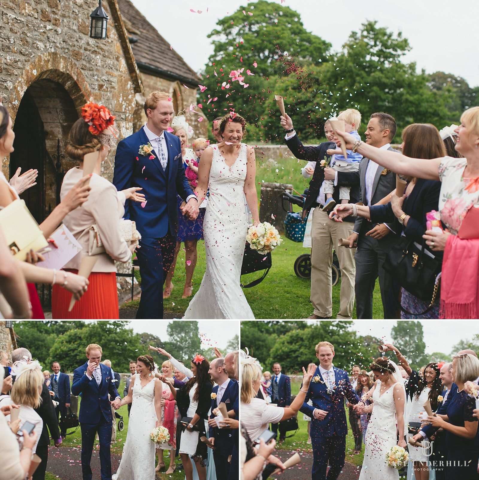 Confetti throwing outside Chetnole church Dorset
