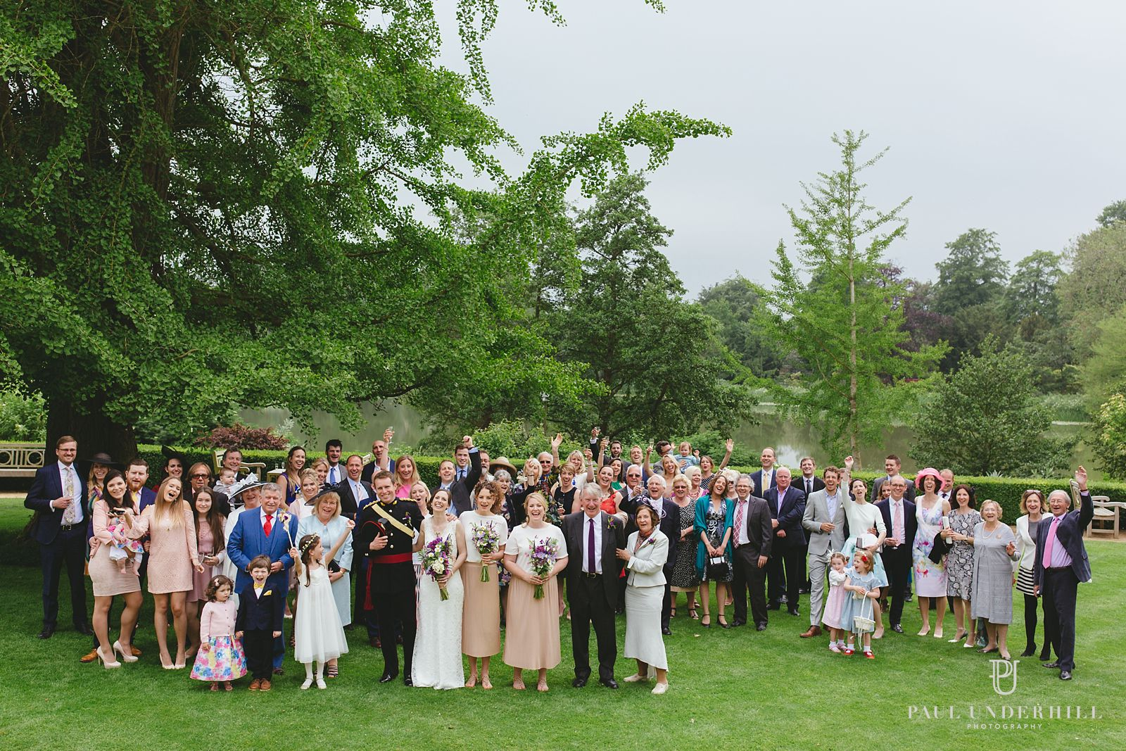 Sherborne castle wedding group photo