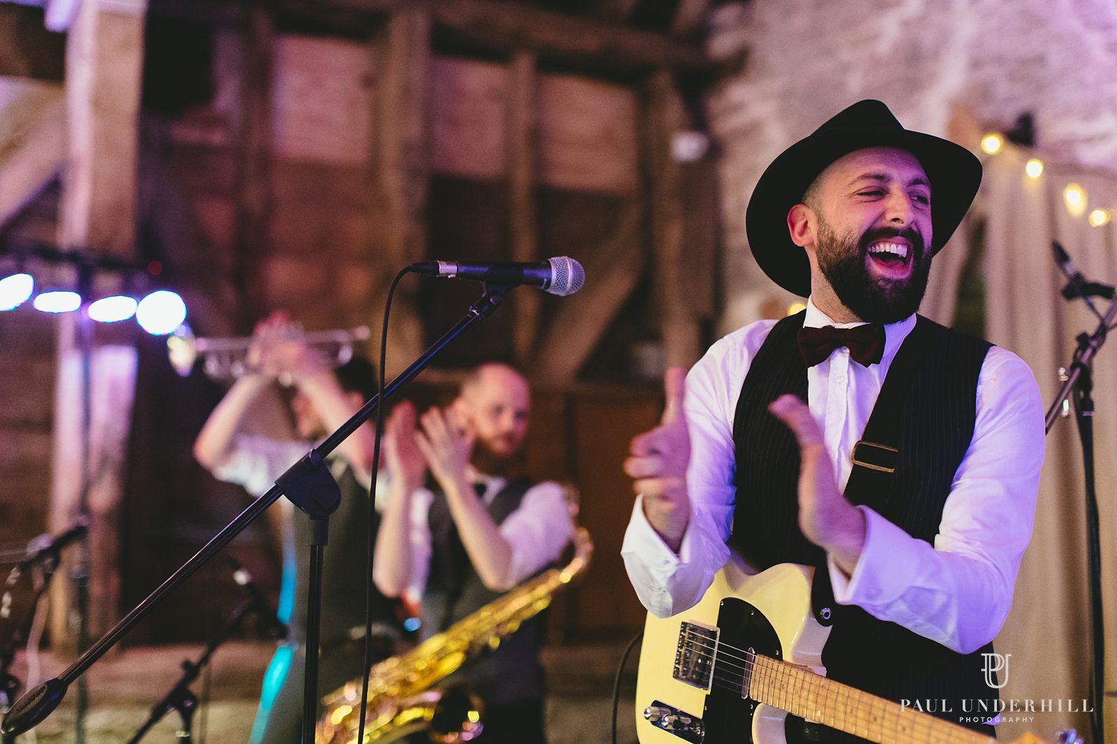 Wedding band at Stockbridge Farm Barn