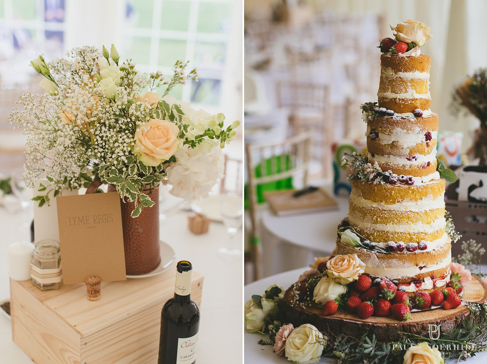 Wedding cake and decorations
