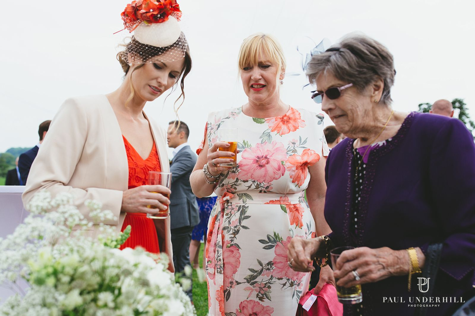 Wedding guests at farm in Dorset