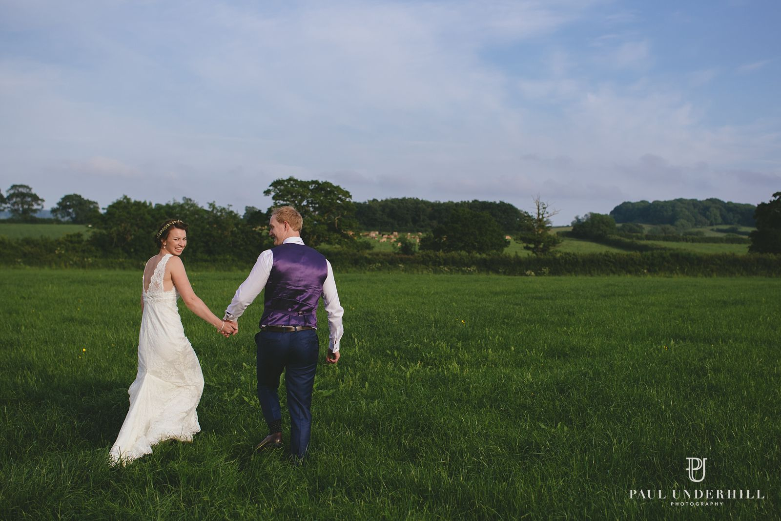 Wedding portrait in Dorset field