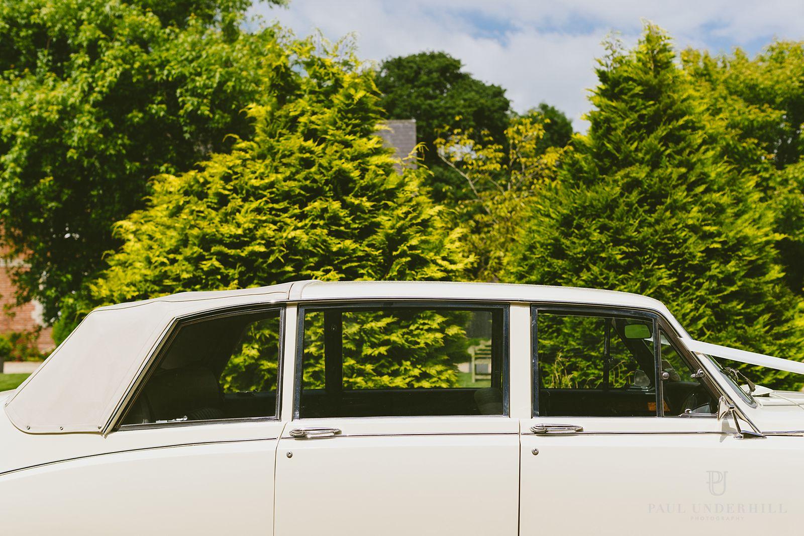 Bridal wedding car in Dorset