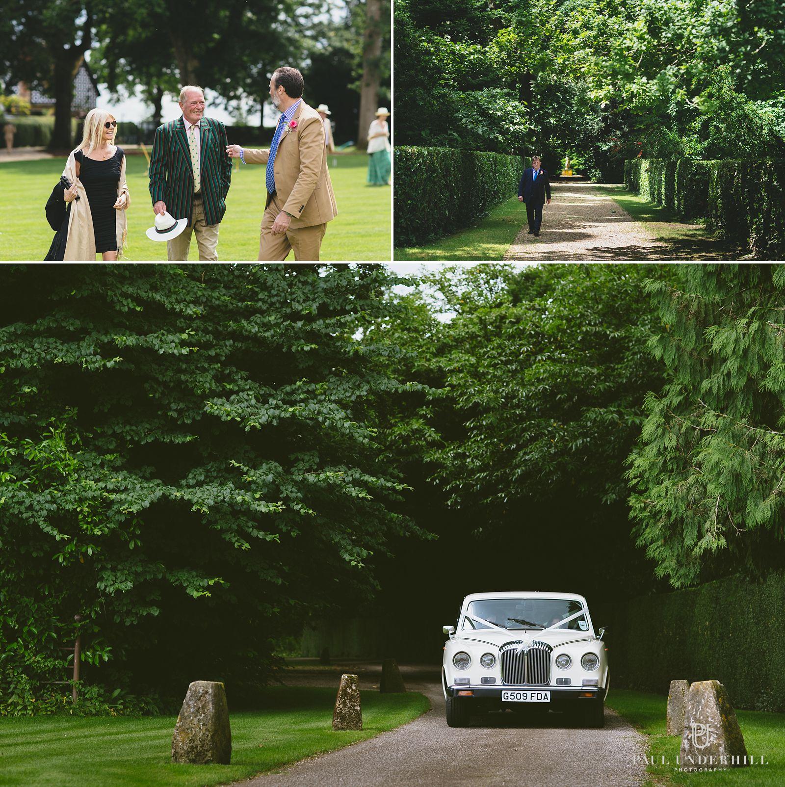 Bride arrives at Larmer Tree gardens