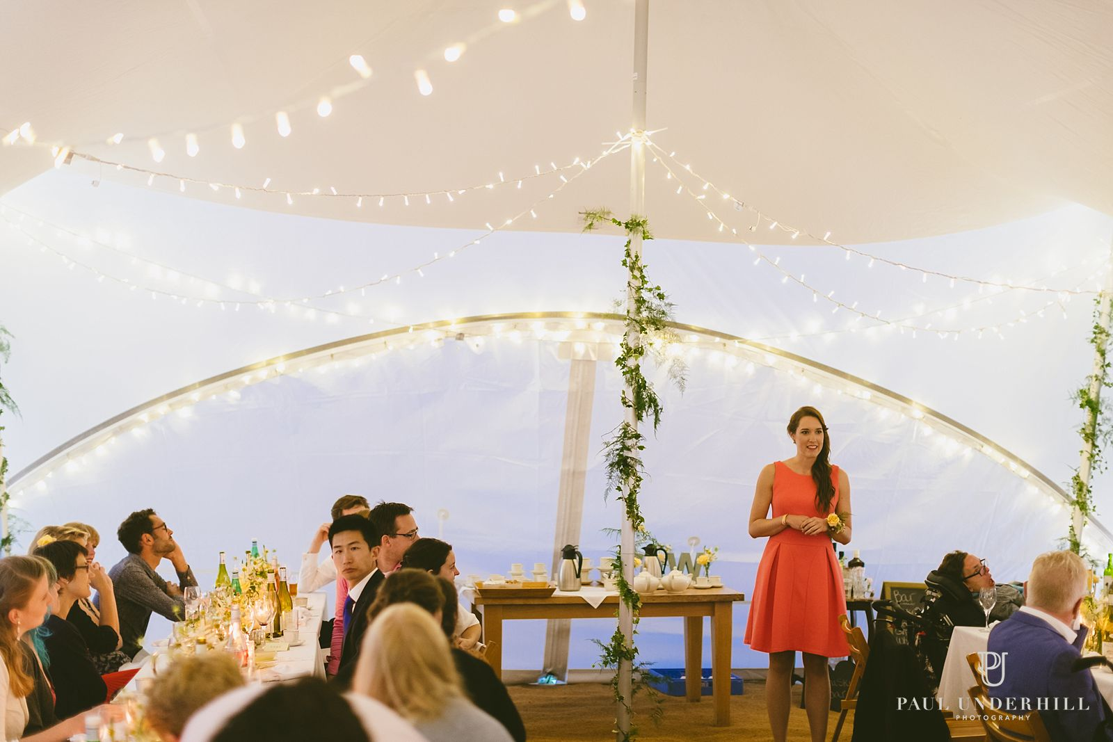 Evening wedding reception in Dorset