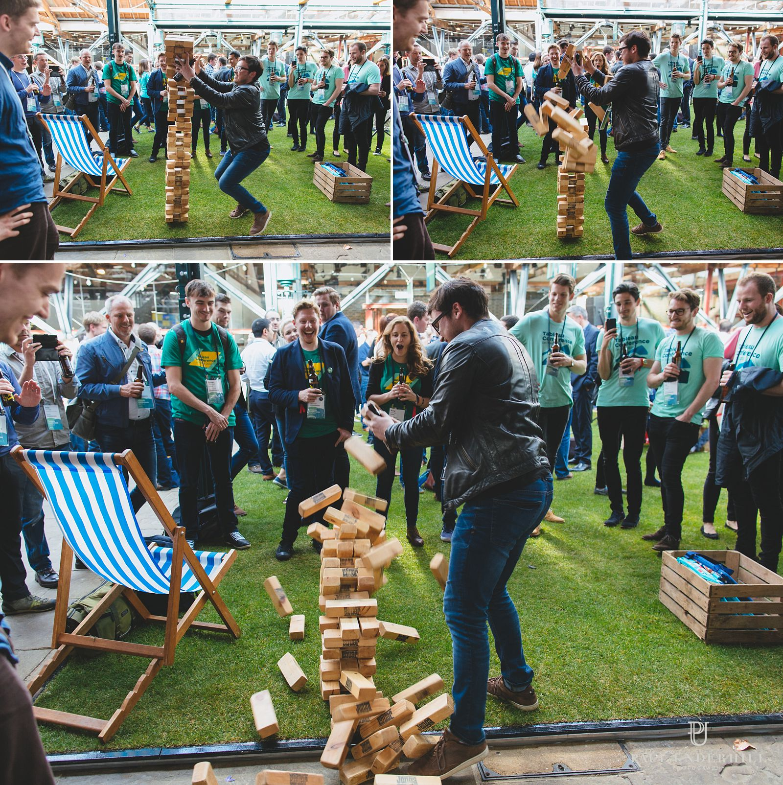 Giant jenga game at London conference