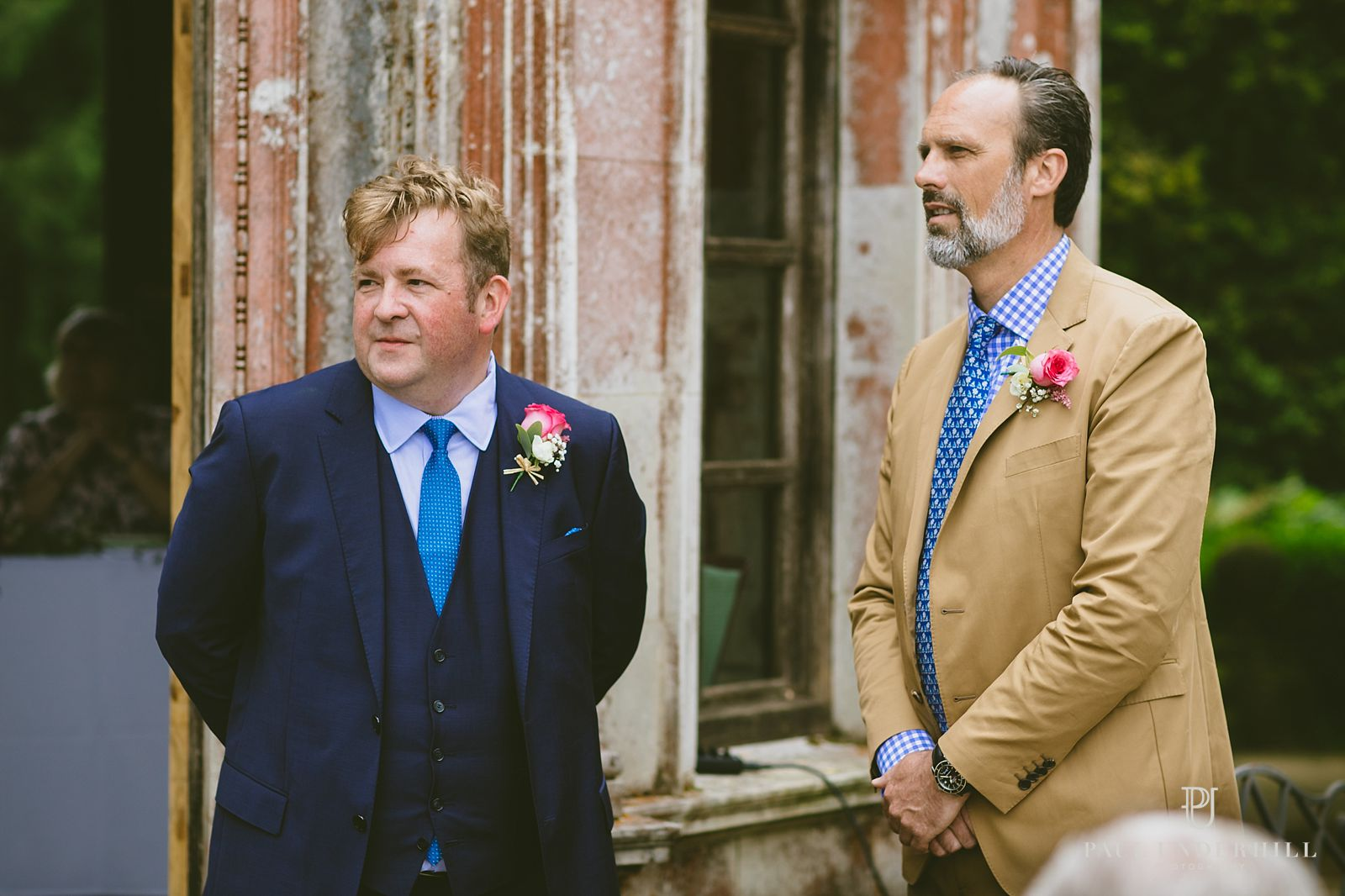 Groom bestman outdoor wedding Larmer Tree