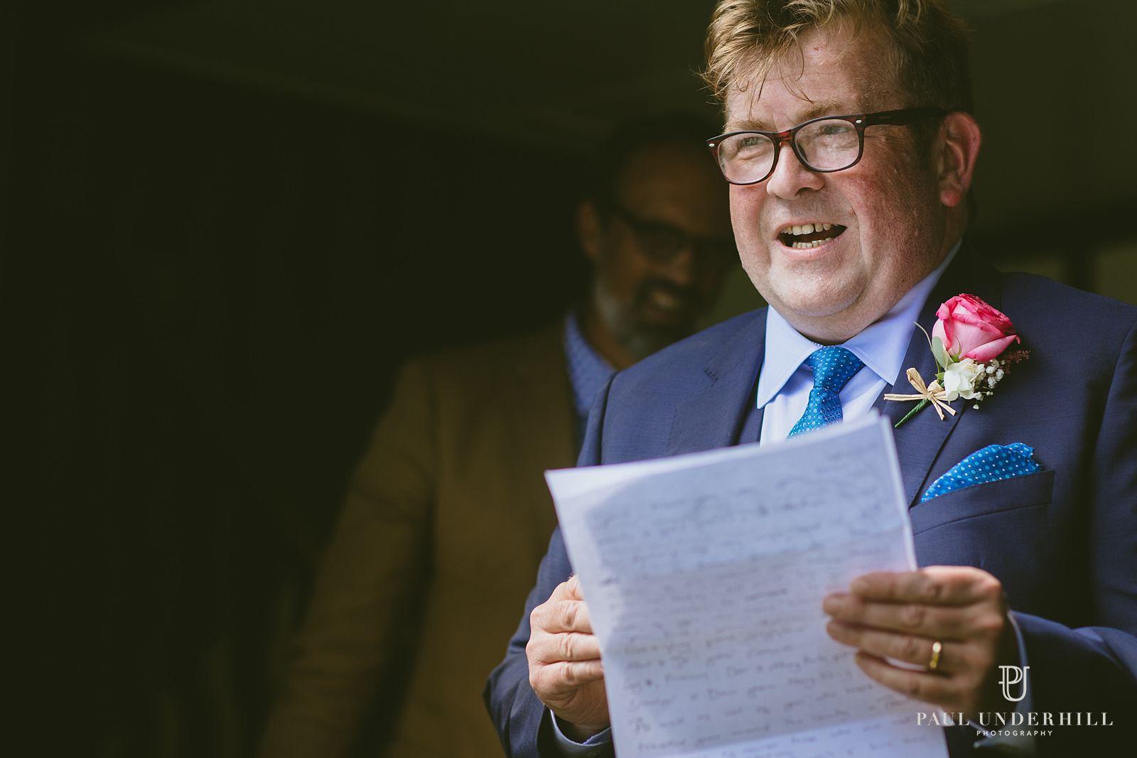 Groom makes speech wedding documentary