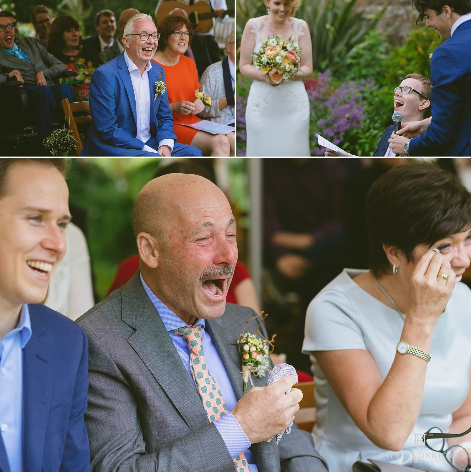 Guests laughing Dorset wedding
