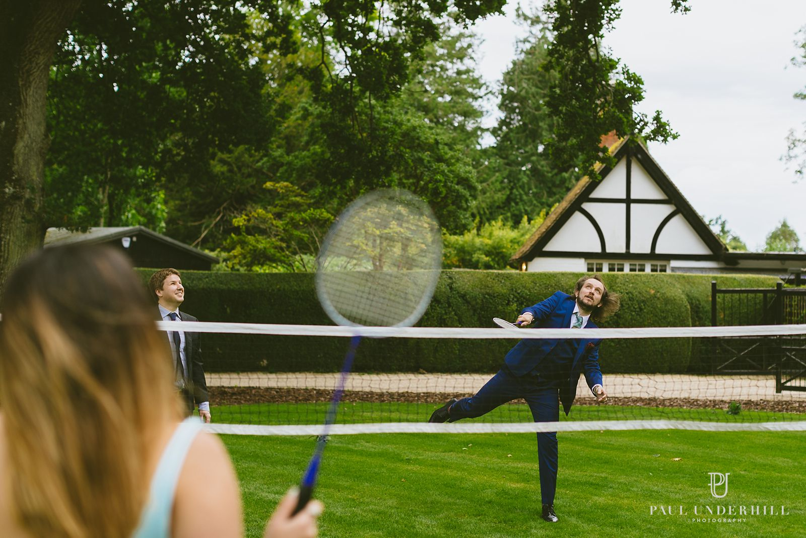 Guests playing lawn games Wiltshire wedding
