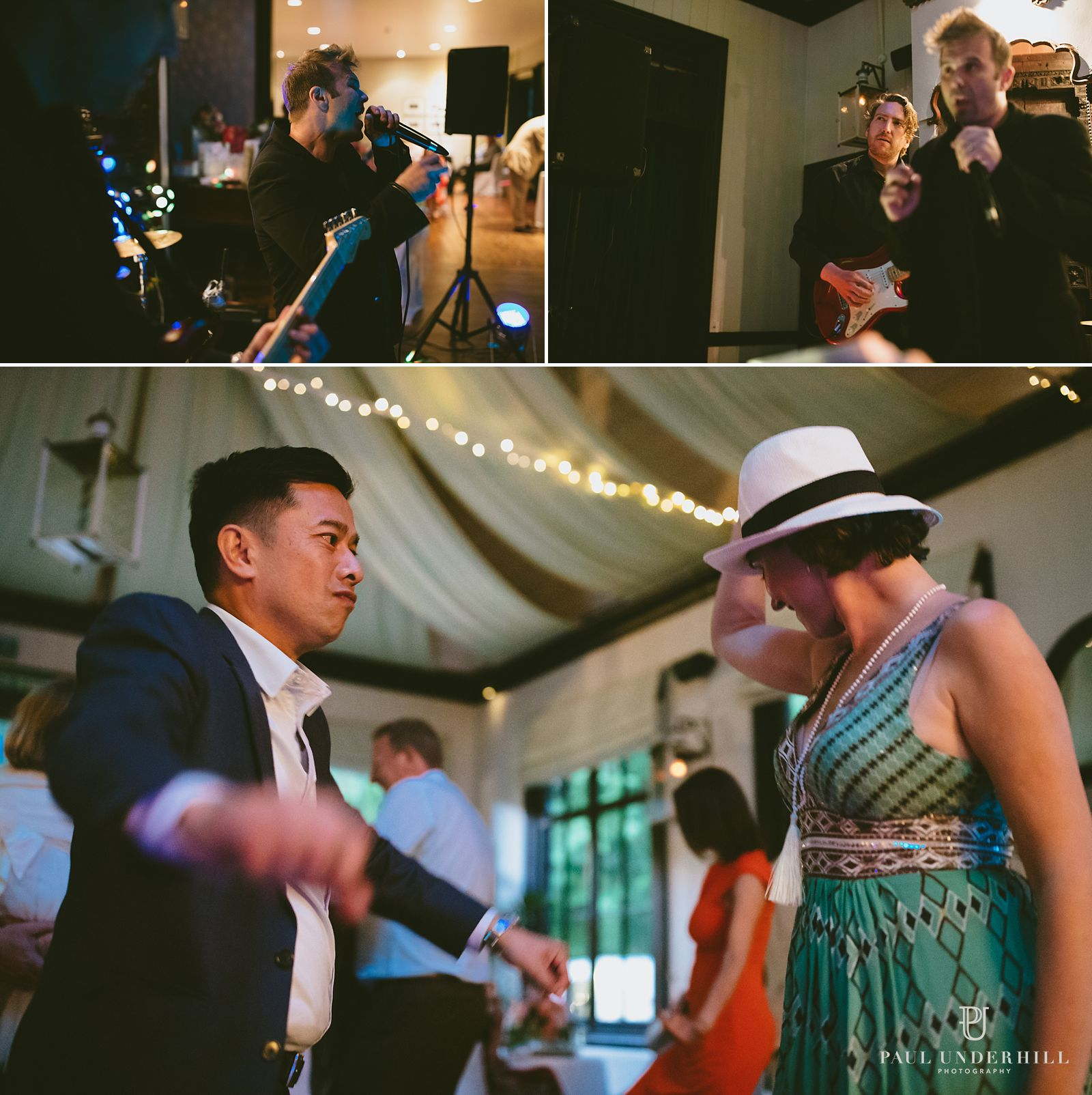 Live band and guests dancing at wedding