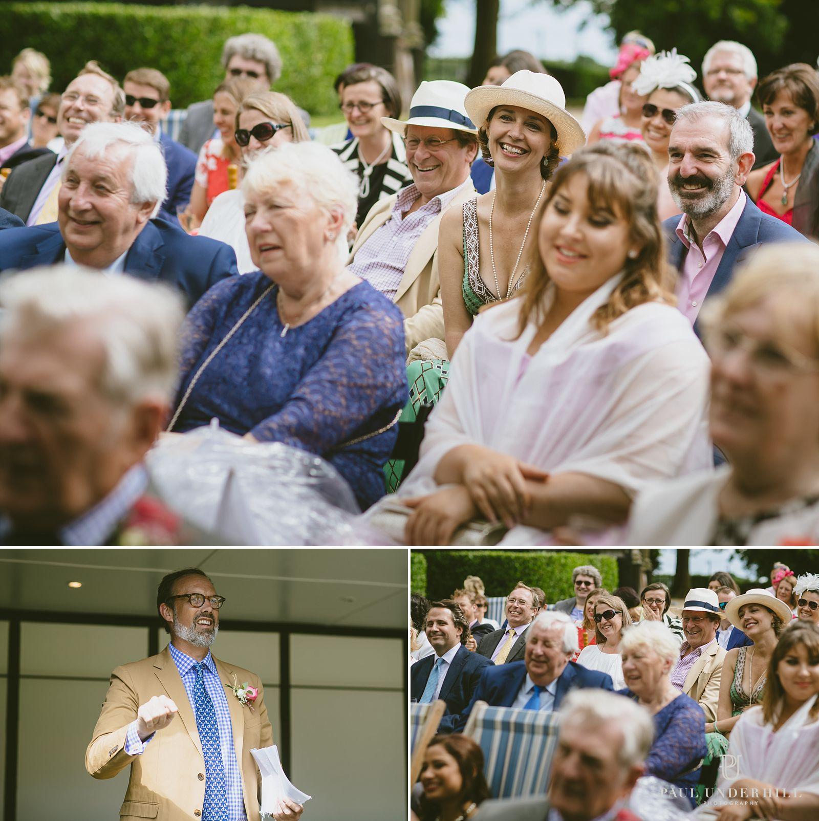 Speeches outdoors at Larmer Tree wedding