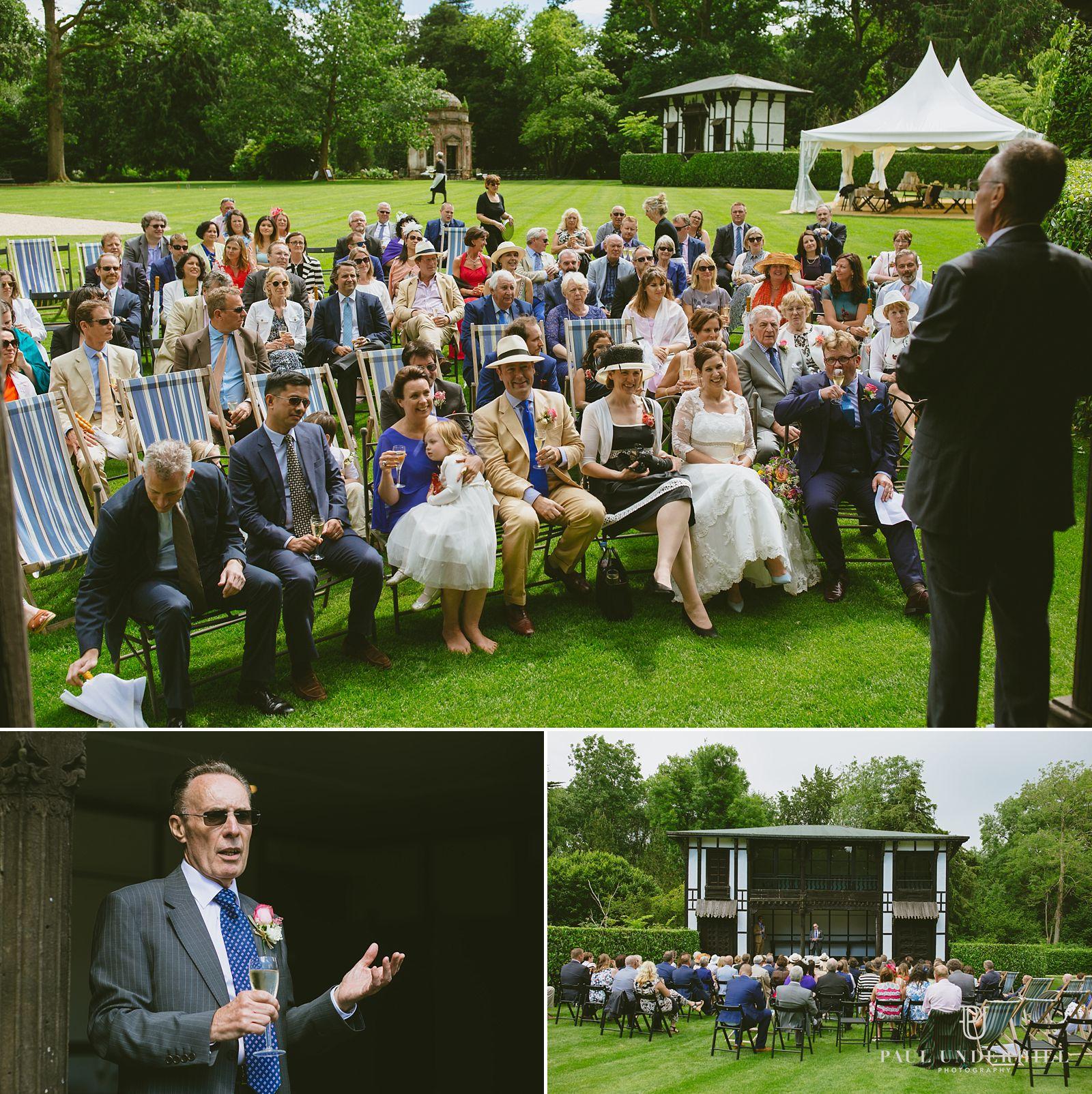 Speeches outside at Larmer Tree gardens