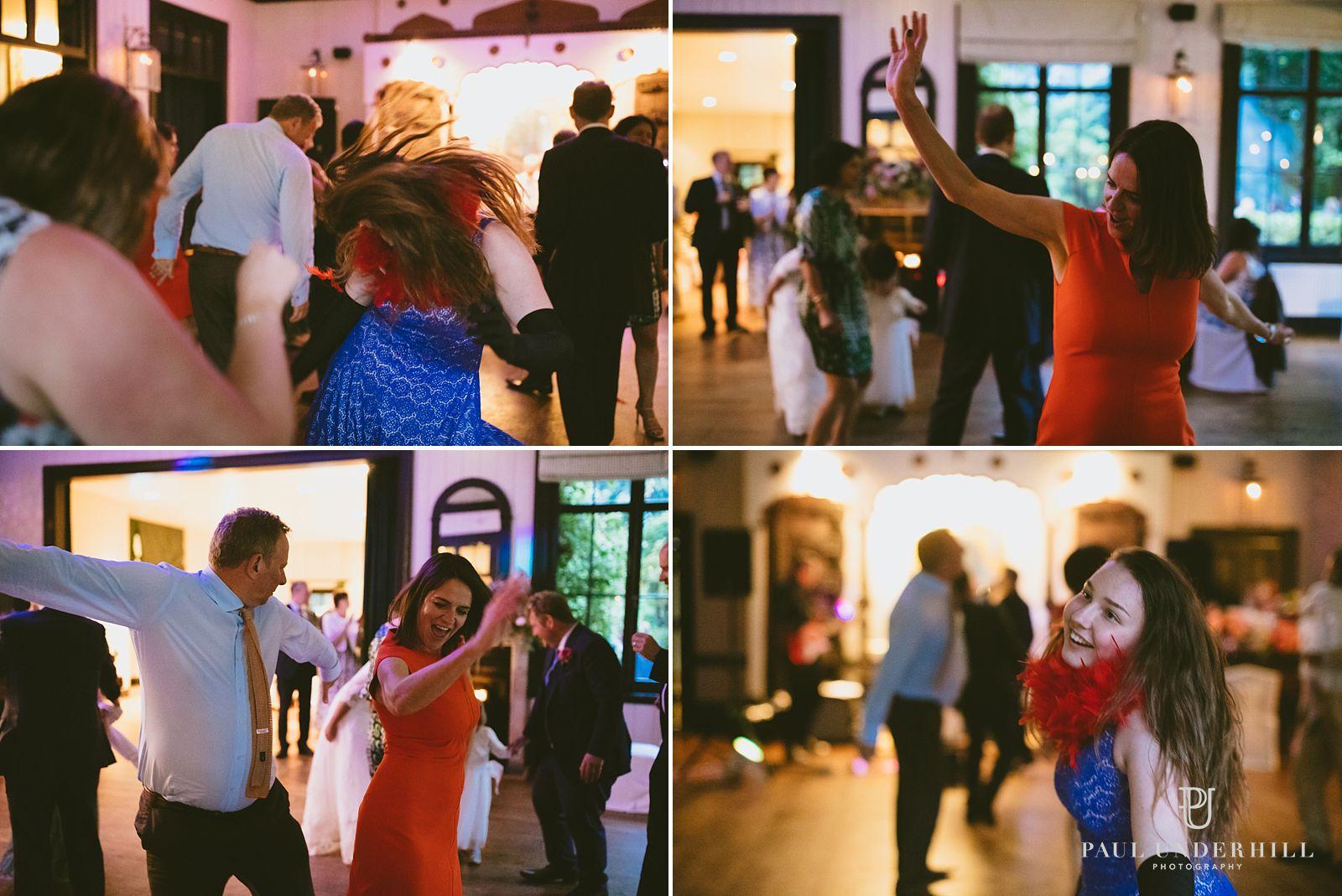 Wedding guests dancing Larmer Tree