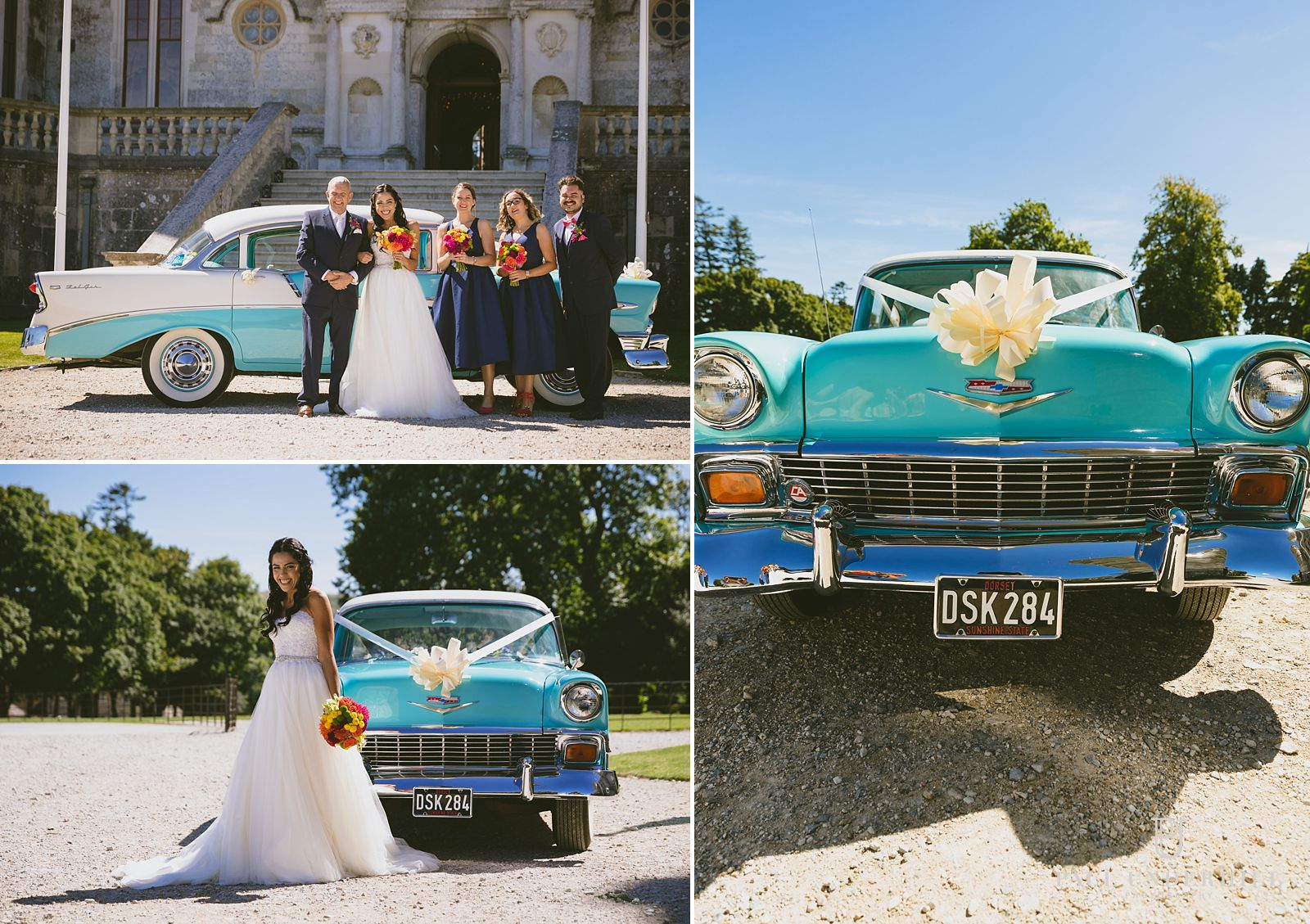 vintage-american-wedding-car-at-lulworth-castle