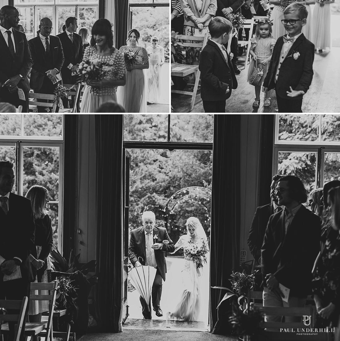 Indoor wedding ceremony Larmer Tree Gardens