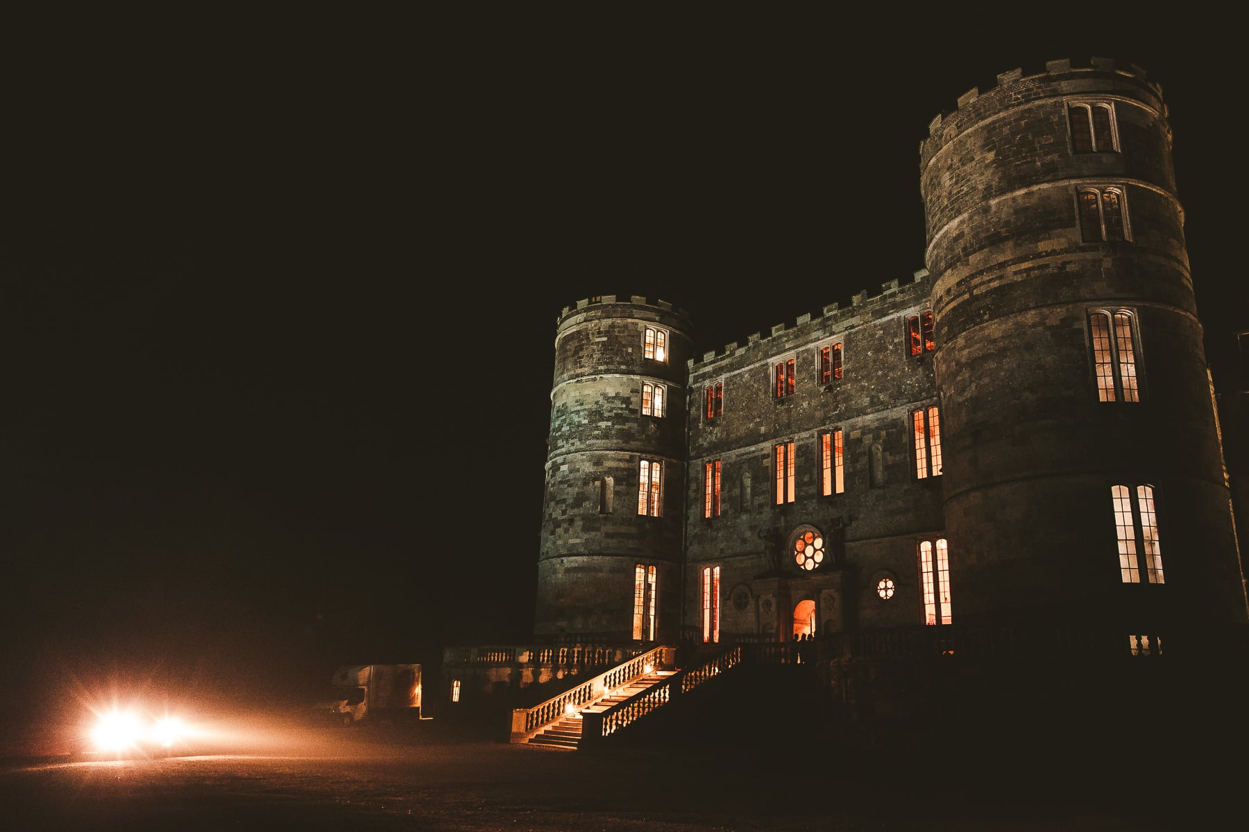 Lulworth-Castle-Dorset-wedding-venue-at-night