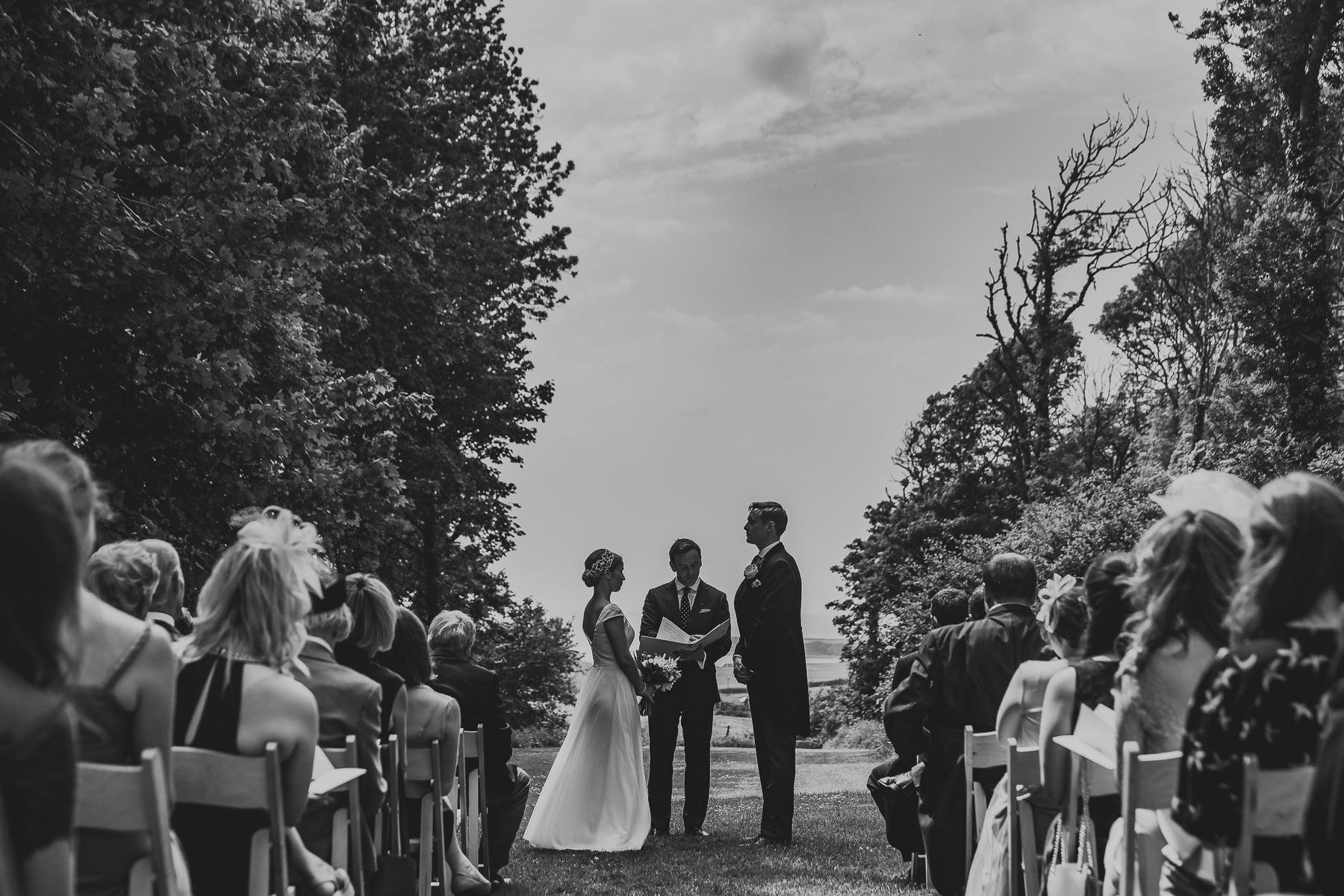 Outdoor wedding ceremony Smedmore House