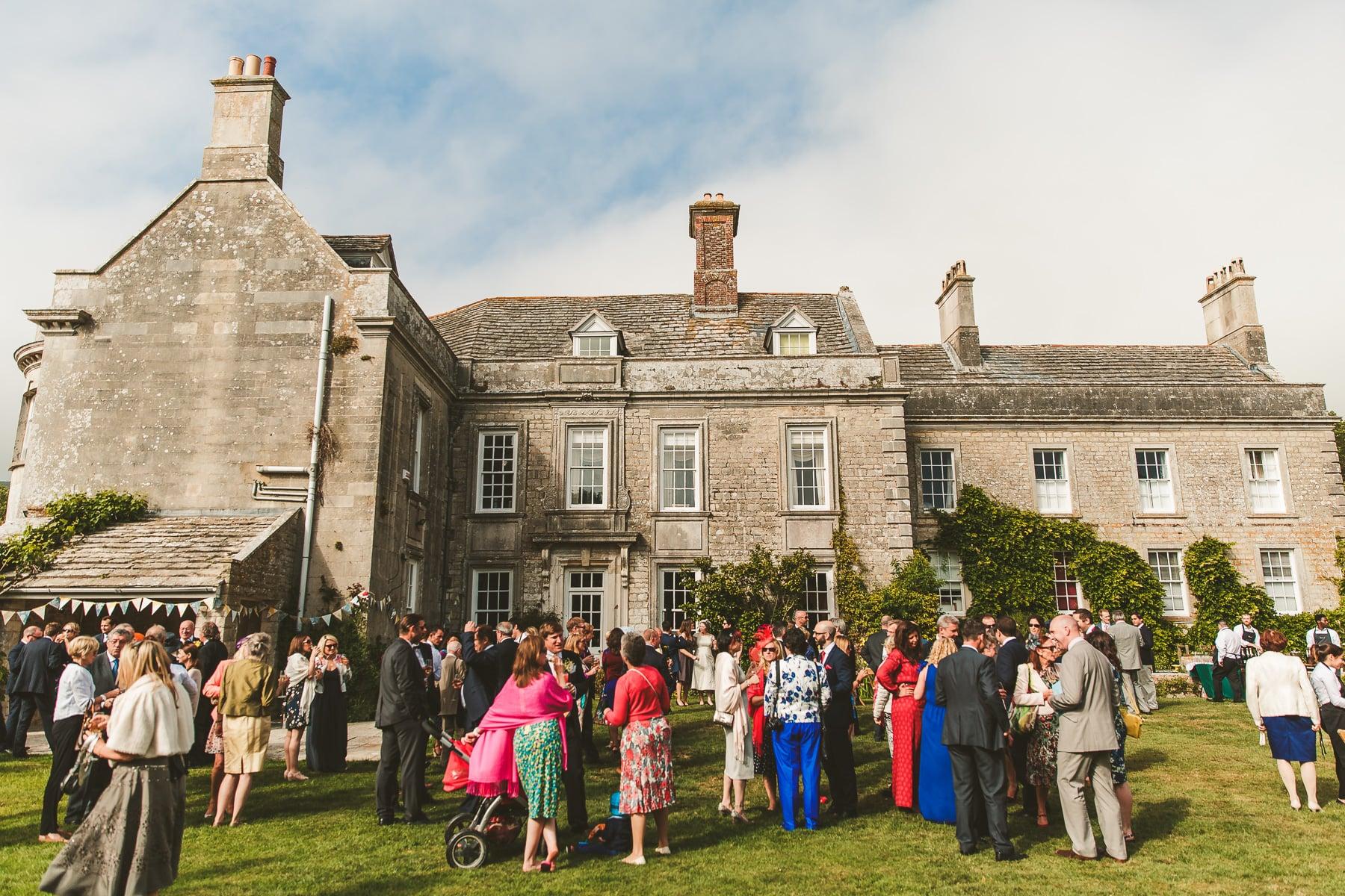 Smedmore House wedding reception drinks in garden