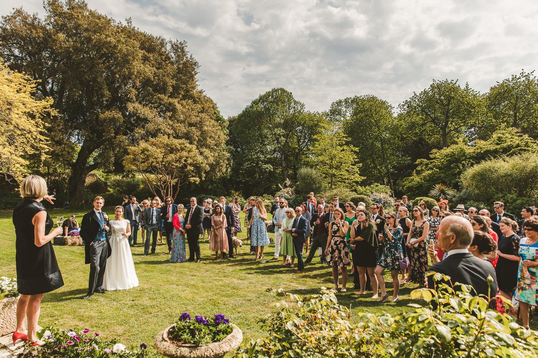 Smedmore House wedding speeches in garden