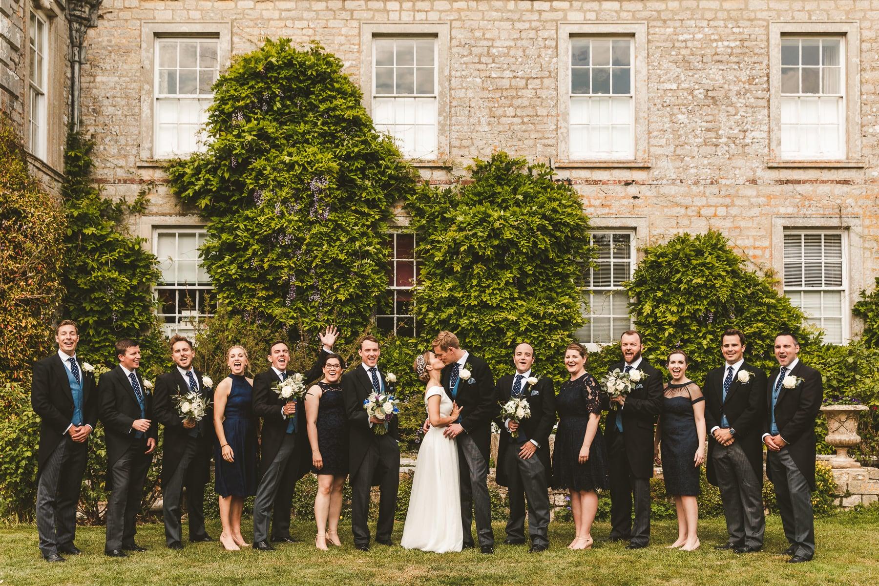 Wedding group photo Smedmore House gardens