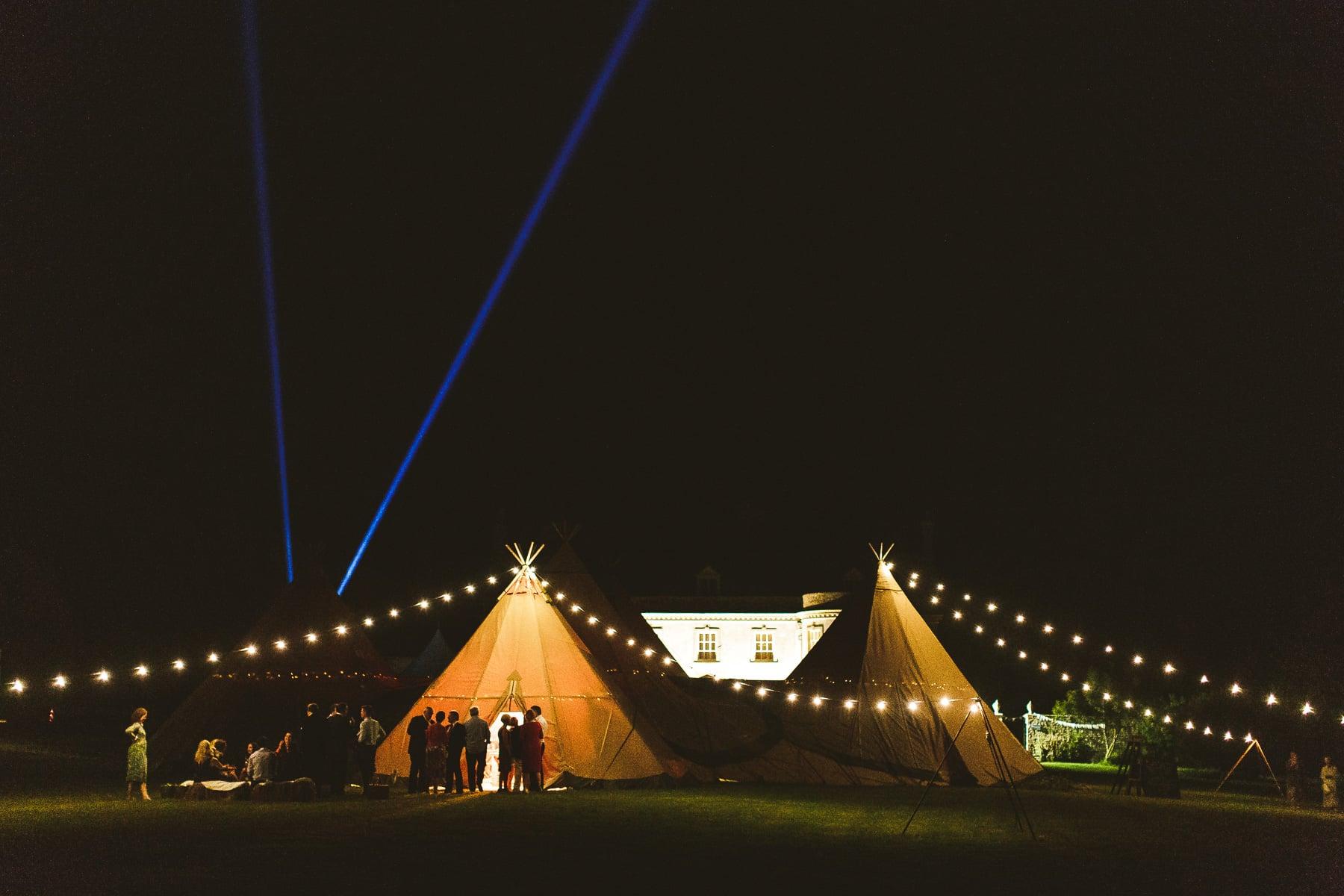 Wedding reception Smedmore House tipi at night