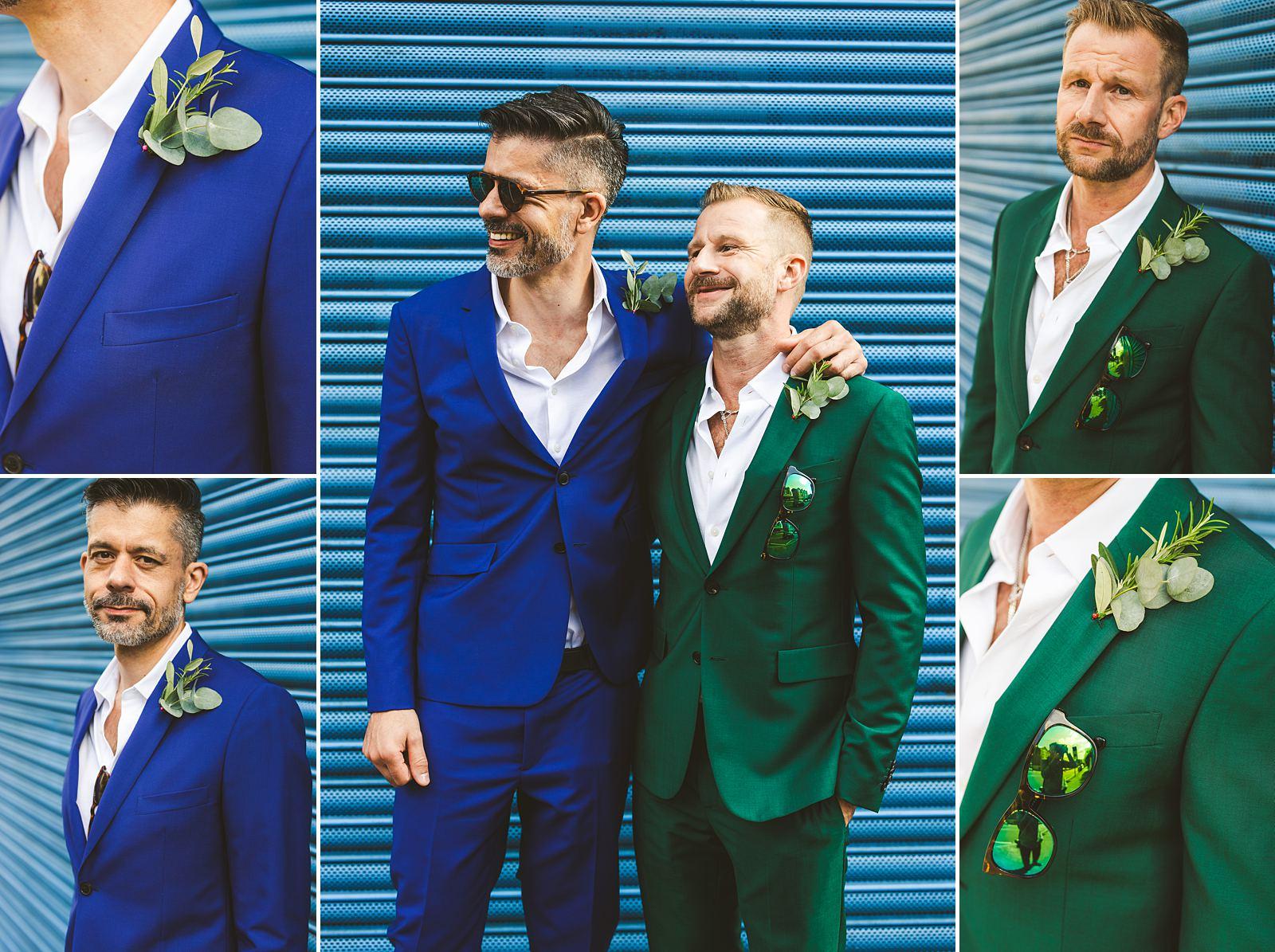 Gay wedding photography London groom portraits