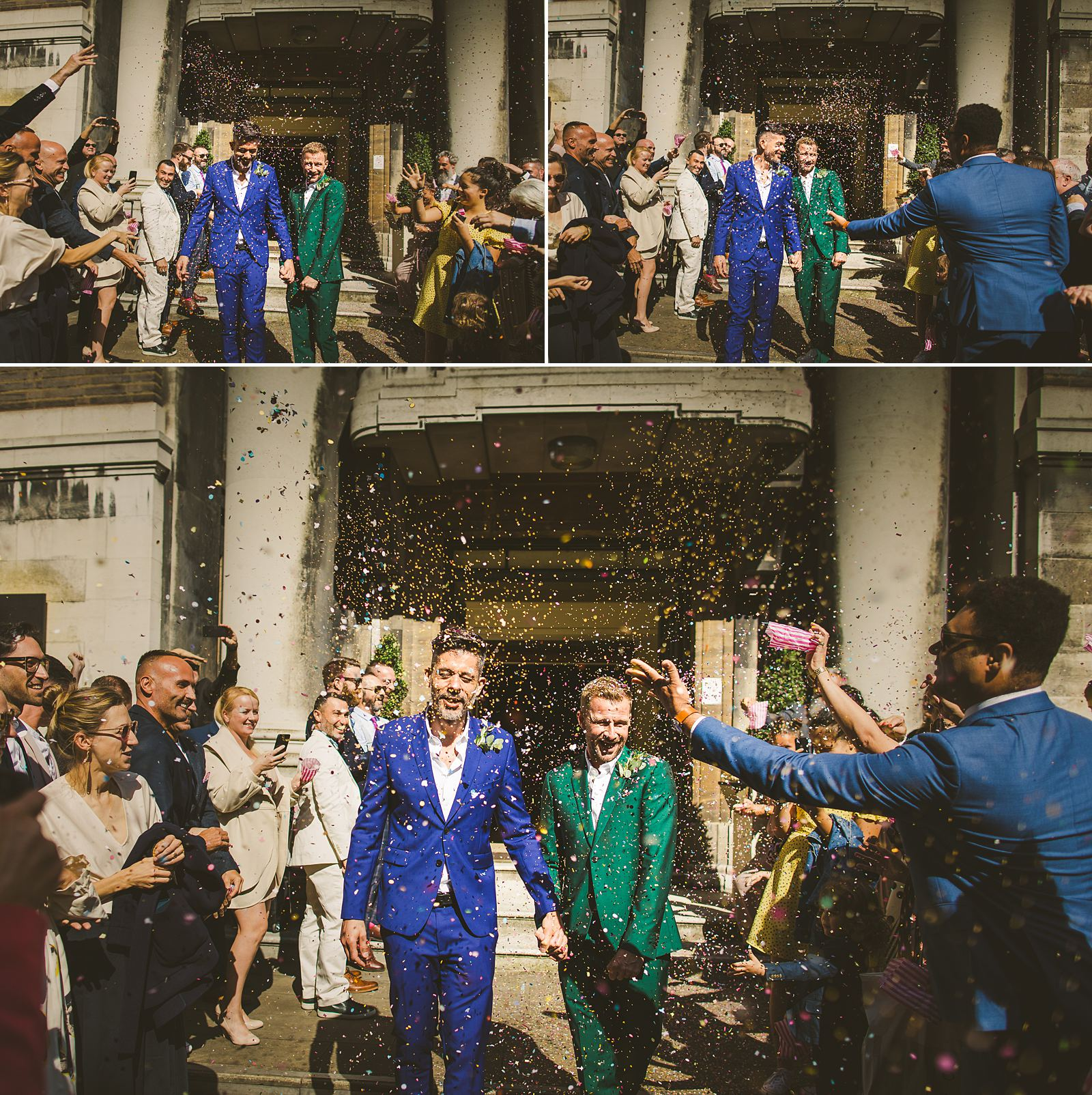London wedding photography confetti
