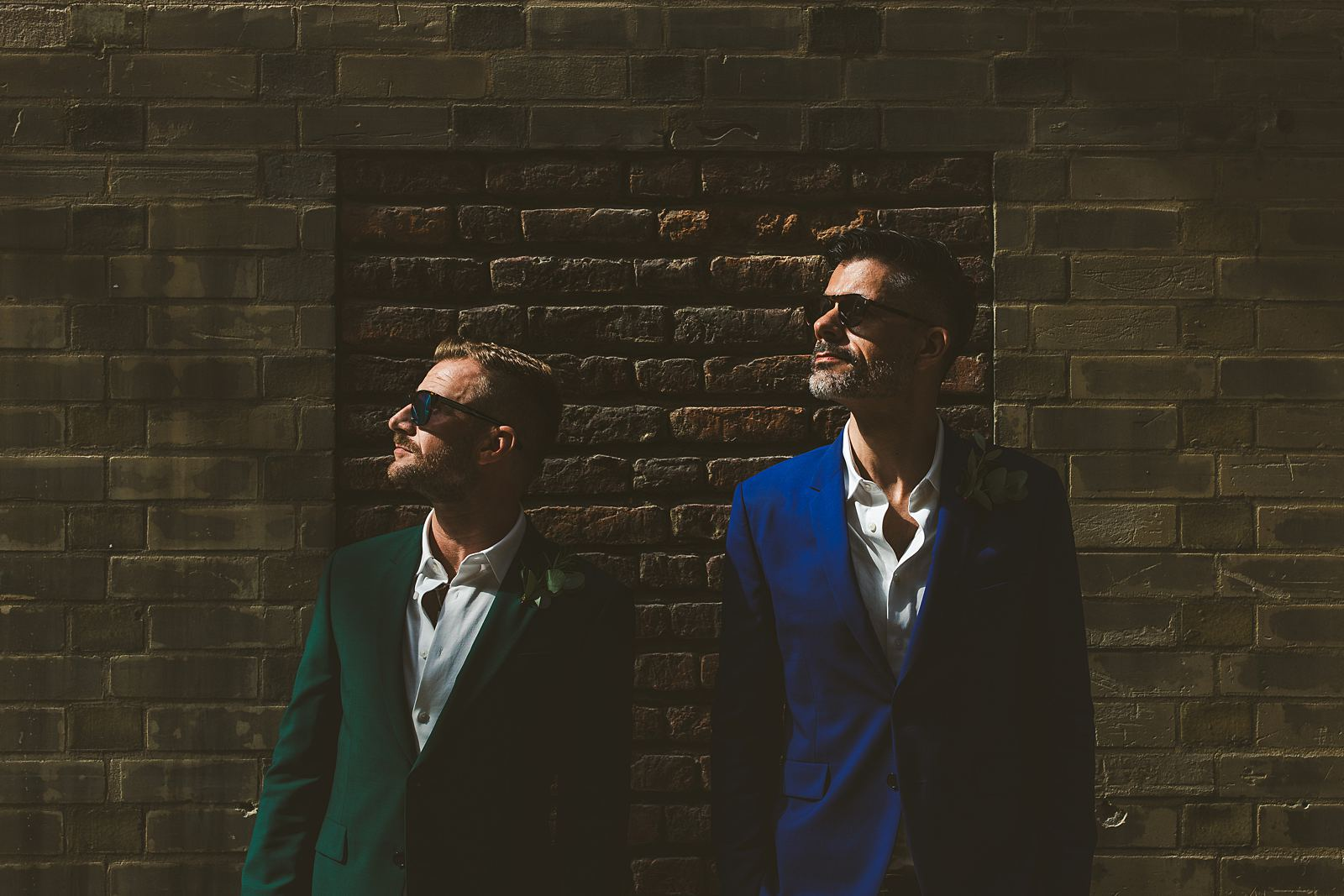 Same-sex grooms wedding portrait London