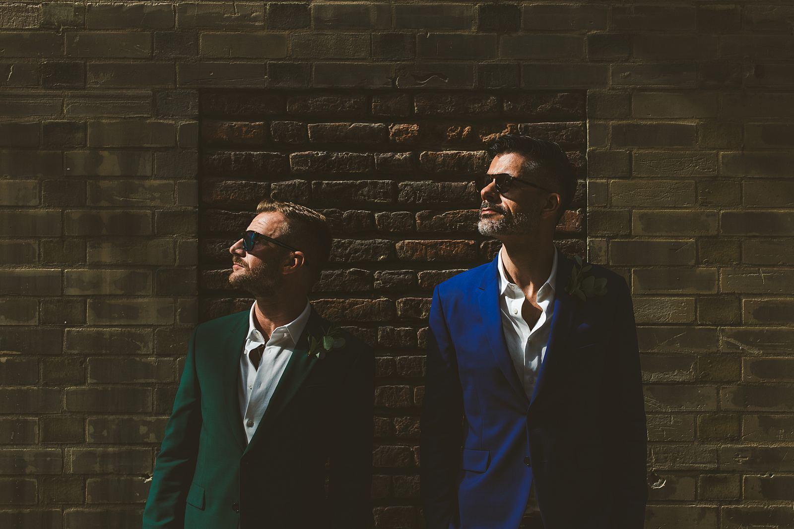 Same-sex grooms wedding portrait London