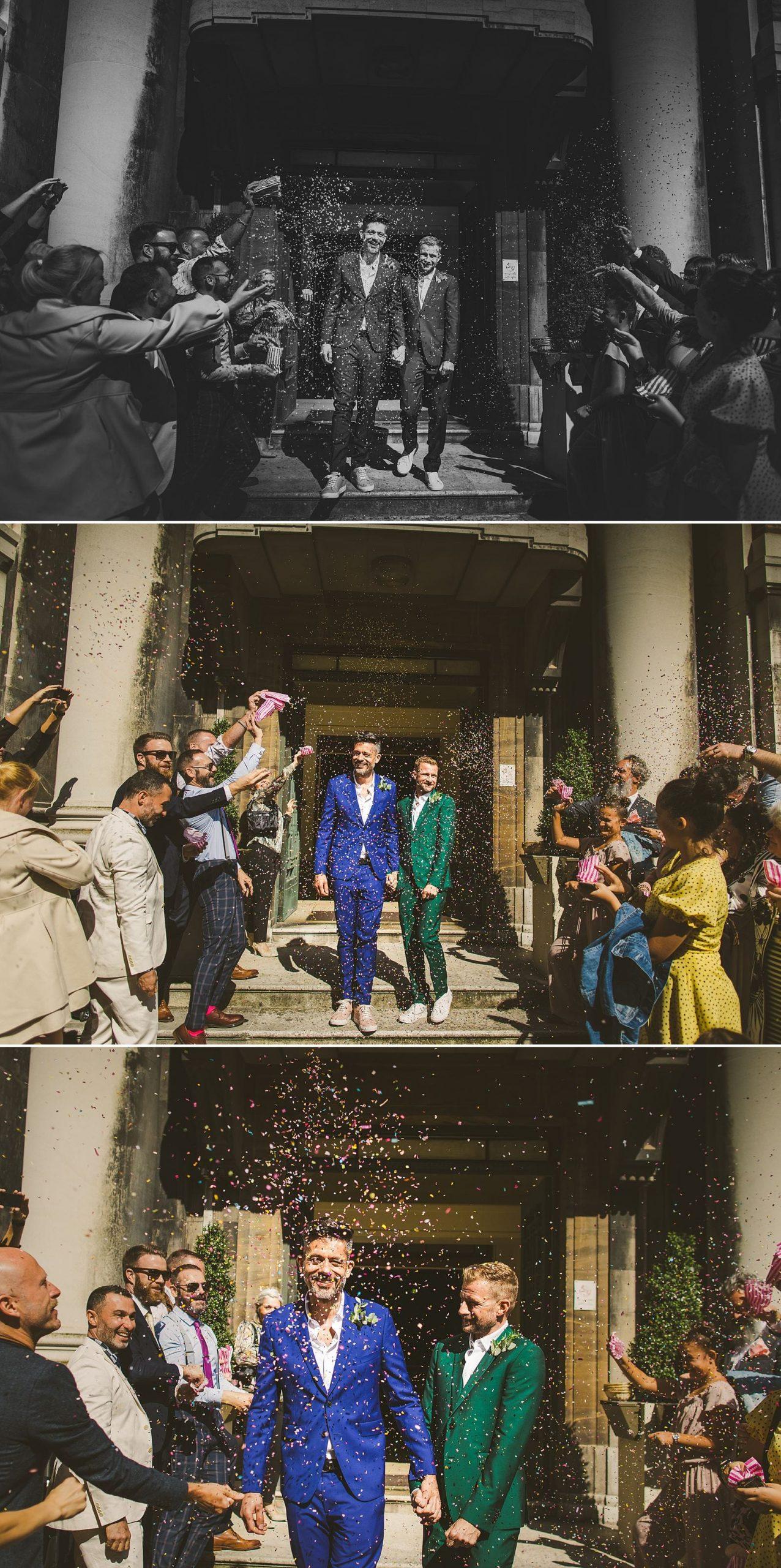 Stoke Newington Town Hall wedding Lonon confetti throwing