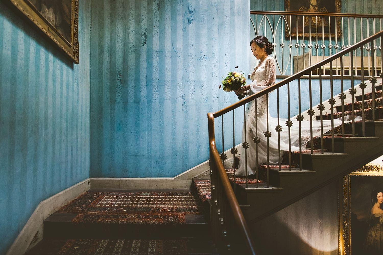 Bride with bouquet St Giles House wedding Dorset