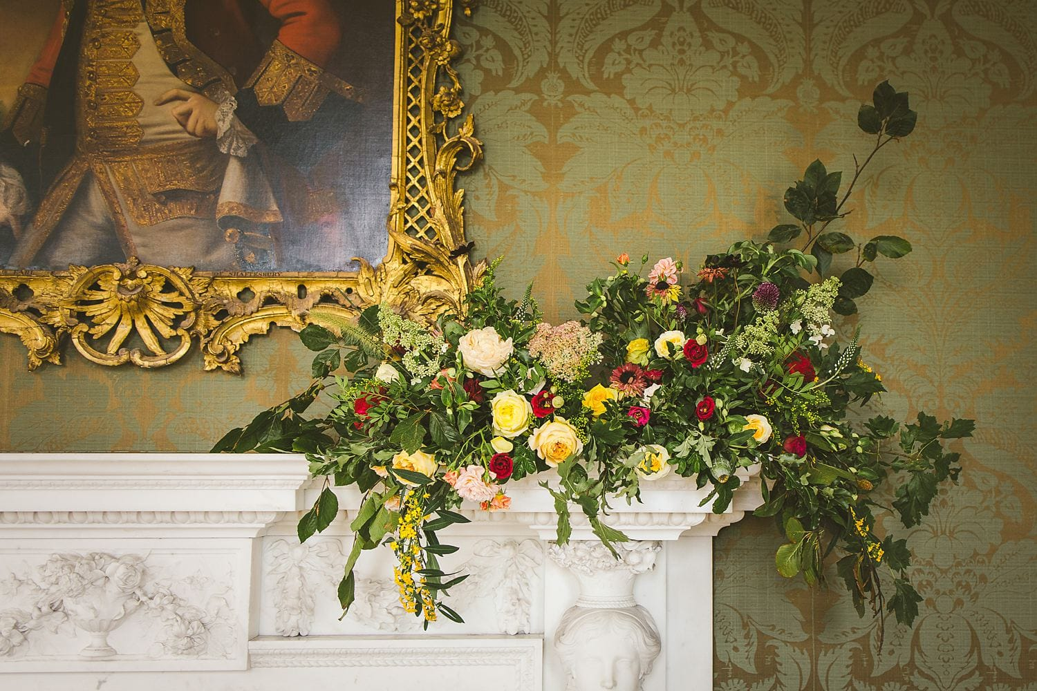 Colourful wedding flowers St Giles House