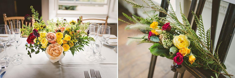 Colourful wedding flowers floral arrangements ideas