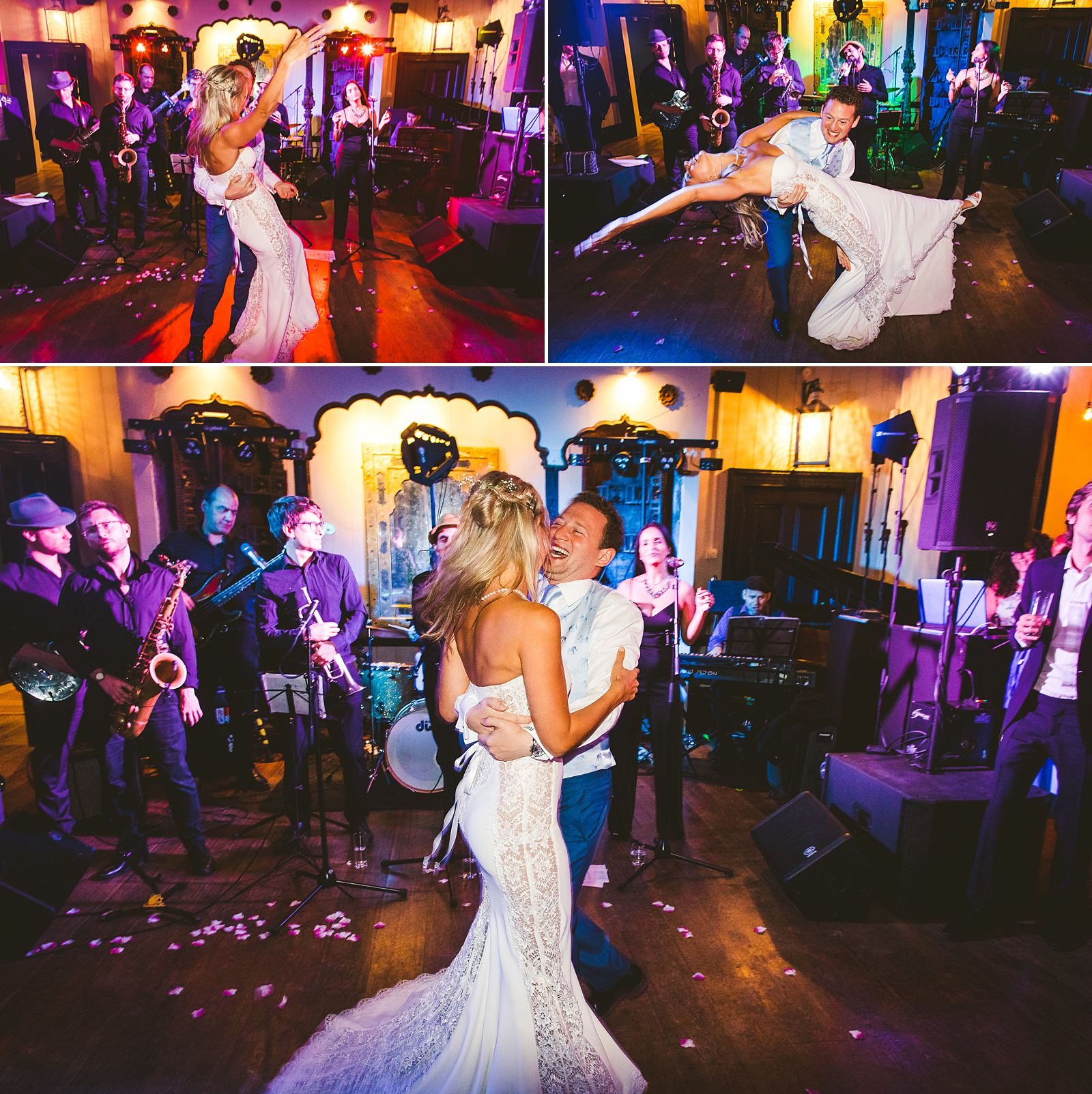 Fun wedding photography Larmer Tree