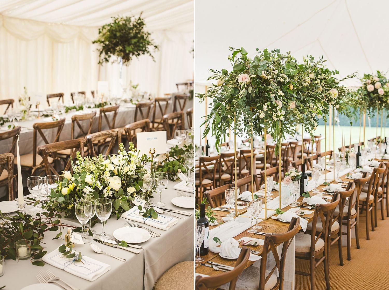 Marquee wedding floral arrangement ideas