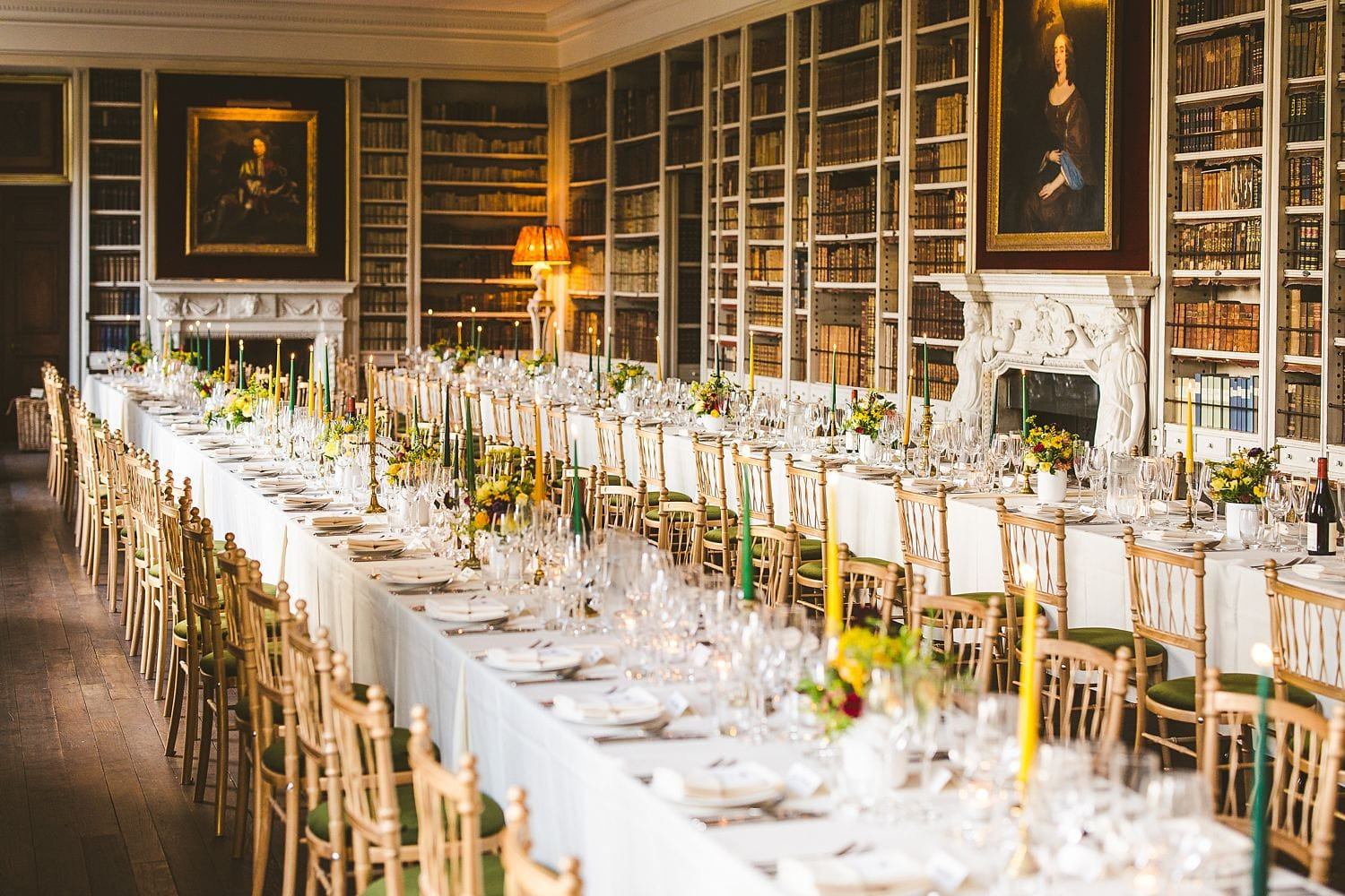 St Giles House wedding candles and colourful table flowers