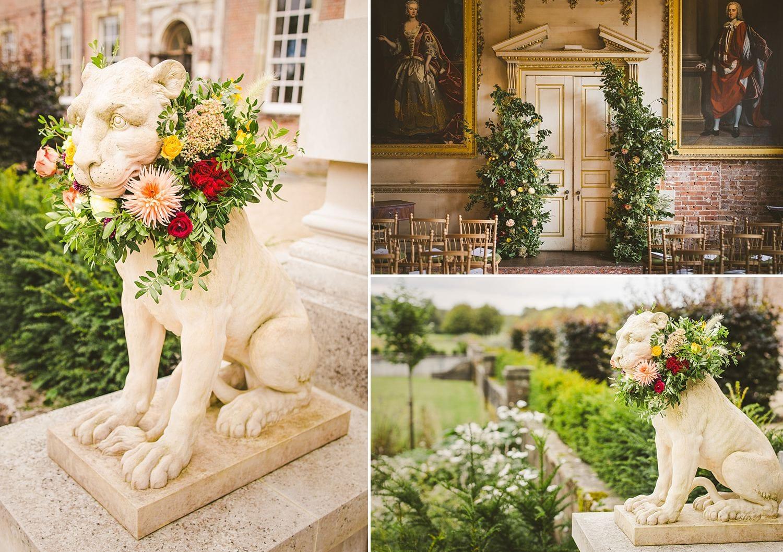 Statement wedding flower arrangements St Giles House Dorset