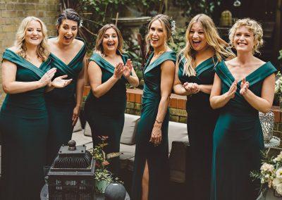 Bridesmaids reaction London wedding photography